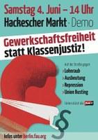 Am 4. Juni zur Demo: Gewerkschaftsfreiheit statt Klassenjustiz!