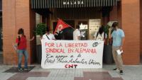 Kundgebung in Malaga für die Gewerkschaftsfreiheit in Deutschland