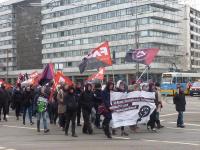 Gewerkschafter_innen demonstrierten am Frauenkampftag zur JVA Chemnitz