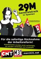 29.März Internationale Unterstützung für den Generalstreik in Spanien